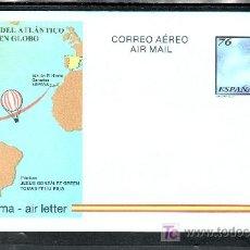 Sellos: ESPAÑA AEROGRAMA 222 NUEVO, PRIMERA TRAVESIA DEL OCEANO ATLANTICO EN GLOBO DIRECCION ESTE-OEST. Lote 221656882