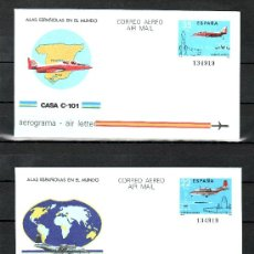 Sellos: ESPAÑA AEROGRAMA 205/6 NUEVO, AVION CASA 212, AVION CASA C-101,. Lote 179236960