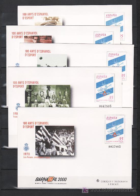 ESPAÑA S.E.P. 59 (5 TIPOS) NUEVO, DEPORTE, CENTENARIO DEL R.C.D. ESPAÑOL, BARNAFIL 2000 (Sellos - España - Entero Postales)