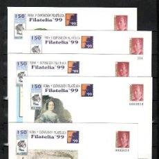 Sellos: ESPAÑA S.E.P. 57 (5 TIPOS) NUEVO, FF.CC.,150º ANIV. SELLO ESPAÑOL, FERIA Y EXP. FIL. FILATELIA 1999. Lote 16459559