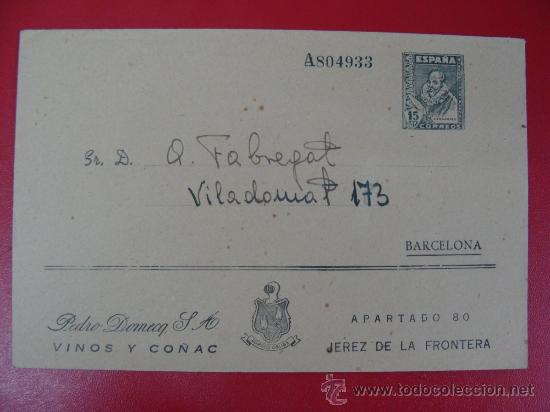 SOBRE ENTERO POSTAL PRIVADO CON PUBLICIDAD DE PEDRO DOMECQ. S.A. VINOS Y COÑAC (Sellos - España - Entero Postales)