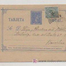 Sellos: ENTERO POSTAL ALFONSO XII. CIRCULADO EN 1876, CON SELLO DE IMPUESTO DE GUERRA. MATASELLOS TARRAGONA.. Lote 18454372