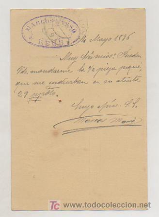Sellos: ENTERO POSTAL ALFONSO XIII. CIRCULADO EN 1896. MATASELLOS REUS (TARRAGONA) - Foto 2 - 18459192