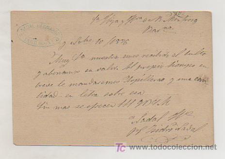 Sellos: ENTERO POSTAL ALFONSO XII. CIRCULADO EN 1876, CON SELLO DE IMPUESTO DE GUERRA. MATASELLOS TARRAGONA. - Foto 2 - 18454372