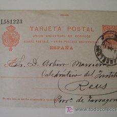 Sellos: TARJETA ENTERO POSTAL : CIRCULADA DE BARCELONA A REUS. ALFONSO XIII 10 CÉNTIMOS. 1910. Lote 19946142