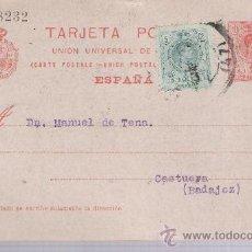 Sellos: TARJETA ENTERO POSTAL.DE BILBAO A CASTUERA.MAYO1922. SELLO COMPLEMENTARIO DE 5 CTS.VERDE DE AL. Lote 21352825