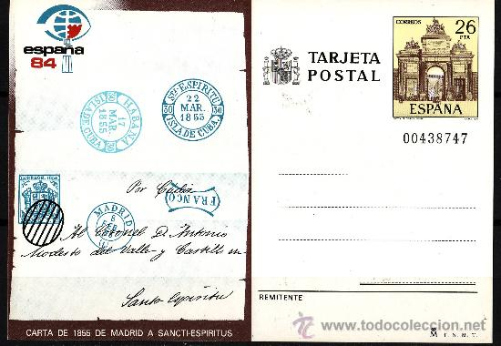 TARJETA ENTERO POSTAL 1984 MANFIL 124 CARTA DE 1855 (Sellos - España - Entero Postales)