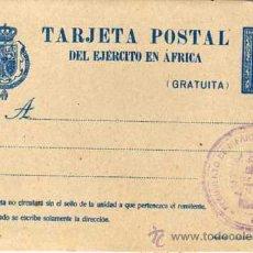 Sellos: ENTERO POSTAL. TARJETA POSTAL DEL EJERCITO EN AFRICA. REGIMIENTO DE INFANTERIA DE SAN FERNANDO.. Lote 25043714