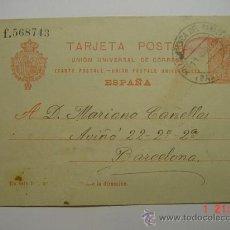 Sellos: ENTERO POSTAL 10 CTMOS ALFONSO XIII VILLAFRANCA DEL PENEDES A BARCELONA AÑO 1919 -. Lote 26494750