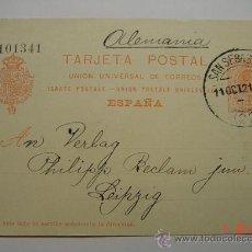 Sellos: ENTERO POSTAL 10 CTMOS ALFONSO XIII SAN SEBASTIAN A LEIPZIG ALEMANIA AÑO 1921. Lote 26494759