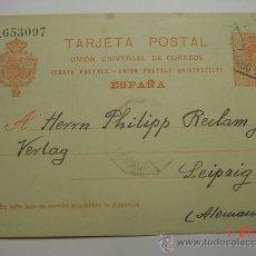 Sellos: ENTERO POSTAL 10 CTMOS ALFONSO XIII GRANOLLERS A LEIPZIG ALEMANIA AÑO 1921. Lote 26494762