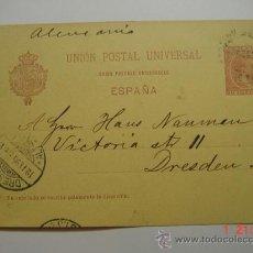 Sellos: ENTERO POSTAL 10 CTMOS ALFONSO XIII BARCELONA A DRESDEN ALEMANIA AÑO 1895. Lote 26494766
