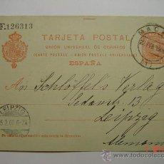 Sellos: ENTERO POSTAL 10 CTMOS ALFONSO XIII MADRID A LEIPZIG ALEMANIA AÑO 1908. Lote 26494795