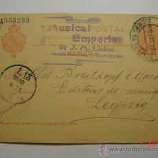 Sellos: ENTERO POSTAL 10 CTMOS ALFONSO XIII BARCELONA ESTAFETA A LEIPZIG ALEMANIA AÑO 1905. Lote 26494807