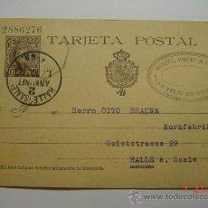Sellos: ENTERO POSTAL 10 CTMOS ALFONSO XIII SAN FELIU DE GUIXOLS A HALLE ALEMANIA AÑO 1903. Lote 26494819