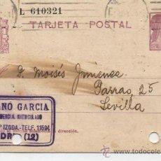 Sellos: TARJETA ENTERO POSTAL. DE MADRID A SEVILLA. DE 9 DE MARZO DE 1936.. Lote 27999815