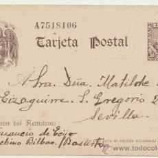 Sellos: TARJETA ENTERO POSTAL. DE BILBAO A SEVILLA.DE FECHA 14-12 1940. EDIFIL Nº 83.. Lote 28127639