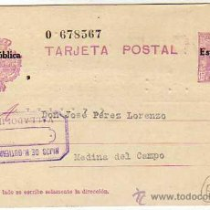 Timbres: ENTERO POSTAL REPUBLICA . MADRID. MATASELLO HIJOS DE H. GUTIERREZ. VALLADOLID.. CIRCULADO.. Lote 28734820