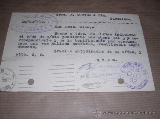 Sellos: SALAMANCA TAMPON GONZALEZ MARTIN CIRCULADA 1932 A BARCELONA 14X9 CM.MARCA DE DOS TALADROS. - Foto 2 - 30164384