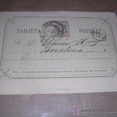 Sellos: ENTERO POSTAL ZARAGOZA 1875 NAVARRO HERMANOS ZARAGOZA - BARCELONA 14,5X10 CM.. Lote 30177506