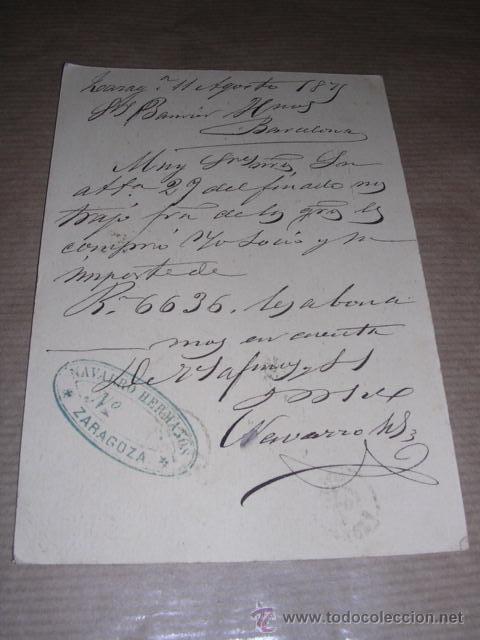Sellos: ENTERO POSTAL ZARAGOZA 1875 NAVARRO HERMANOS ZARAGOZA - BARCELONA 14,5X10 CM. - Foto 2 - 30177506