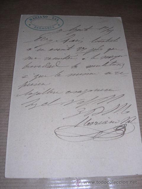 Sellos: ENTERO POSTAL ZARAGOZA 1875 MARIANO VAL - BARCELONA 15X10 CM. - Foto 2 - 30177571