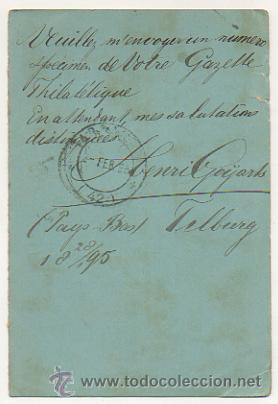 Sellos: 4 ENTEROS POSTALES ENVIADOS A TARRACO FILATELICO, RICARDO BESSES. 1895. - Foto 2 - 30790072