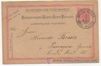 Sellos: 4 ENTEROS POSTALES ENVIADOS A TARRACO FILATELICO, RICARDO BESSES. 1895. - Foto 7 - 30790072