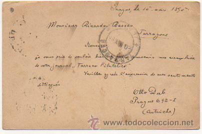 Sellos: 4 ENTEROS POSTALES ENVIADOS A TARRACO FILATELICO, RICARDO BESSES. 1895. - Foto 4 - 30790072