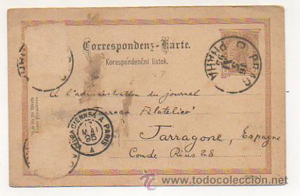 Sellos: 4 ENTEROS POSTALES ENVIADOS A TARRACO FILATELICO, RICARDO BESSES. 1895. - Foto 3 - 30790072