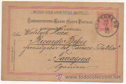 Sellos: 4 ENTEROS POSTALES ENVIADOS A TARRACO FILATELICO, RICARDO BESSES. 1895. - Foto 5 - 30790072