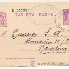 Sellos: ENTERO POSTAL. REPUBLICA ESPAÑOLA. MORA DE EBRO - BARCELONA, 1933. (JOSE ANMENLLA, MORA DE EBRO). Lote 30532738