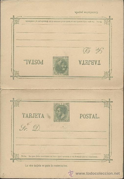 ENTERO POSTAL ESPAÑA - 15 CENTIMOS -DOBLE CON TARJETA RESPUESTA - VER REVERSO - (EP-16) (Sellos - España - Entero Postales)