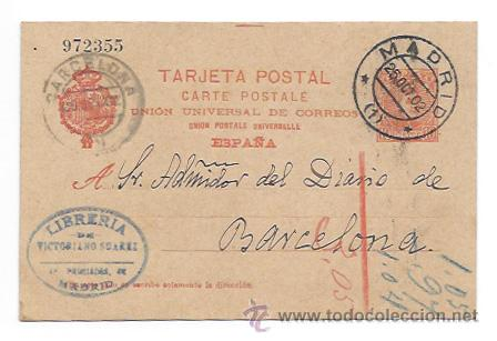 ENTERO POSTAL. ALFONSO XIII. 10 CTS. CIRCULADA MADRID-BARCELONA. 1902. LIBRERIA VICTORIANO SUAREZ. (Sellos - España - Entero Postales)