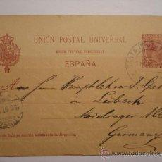 Sellos: ENTERO POSTAL ALFONSO XIII 10 CENTIMOS AÑO 1892 SANTA CRUZ DE TENERIFE ALEMANIA. Lote 34032677