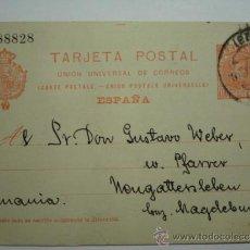 Sellos: ENTERO POSTAL ALFONSO XIII 10 CENTIMOS AÑO 1910 HUELVA A ALEMANIA. Lote 34032697