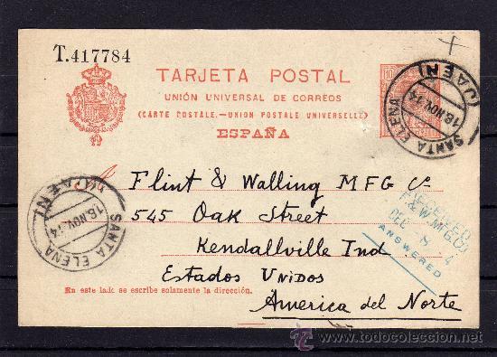 ENTERO POSTAL ALFONSO XIII (TIPO MEDALLÓN) SANTA ELENA (JAEN) A ESTADOS UNIDOS, AÑO 1914 (Sellos - España - Entero Postales)