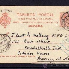 Sellos: ENTERO POSTAL ALFONSO XIII (TIPO MEDALLÓN) SANTA ELENA (JAEN) A ESTADOS UNIDOS, AÑO 1914. Lote 34485566
