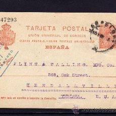 Sellos: ENTERO POSTAL ALFONSO XIII, AÑO 1913 DE BARCELONA A INDIANA, ESTADOS UNIDOS, LEONCIO VINTRÓ. Lote 34487198
