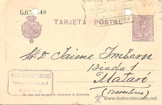 ENTERO POSTAL ALFONSO XIII AÑO 1910 - 15 CÉNTIMOS VIOLETA - CIRCULADA (Sellos - España - Entero Postales)