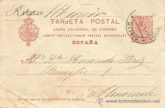 ENTERO POSTAL ALFONSO XIII AÑO 1910 - 10 CÉNTIMOS ROJO NARANJA - CIRCULADA (Sellos - España - Entero Postales)