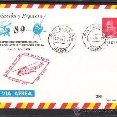 Sellos: ESPAÑA S.E.P. 14 MATº ROTA NAVAL 12/10/1989 Y MARCA VOLADO POR HELICOPTERO AVIACION Y ESPACIO 89. Lote 88883342