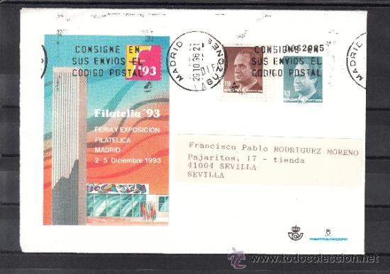 ESPAÑA S.E.P. .21 CIRCULADO, FERIA Y EXPOSICION FILATELICA FILATELIA 93, MADRID, REMITE APF (2 TIPOS (Sellos - España - Entero Postales)
