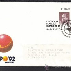 Sellos: ESPAÑA S.E.P. ..6 CIRCULADO, MATº EXPO 92, EXPOSICION FILATELICA RUMBO AL 92, REMITE EXPO 92. Lote 37489237