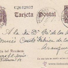 Sellos: CERVANTES ENTERO POSTAL CIRCULADO 1942 DE PAMPLONA (NAVARRA) A ARANJUEZ (MADRID). MPM.. Lote 37850313