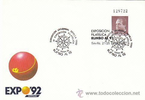 SOBRE ENTERO POSTAL EDIFIL Nº 6, RUMBO AL 92, EXPOSICIÓN UNIVERSAL SEVILLA, EXPO 92, MATASELLO EXPO (Sellos - España - Entero Postales)