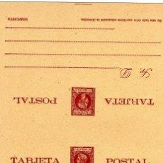 Sellos: ENTERO POSTAL DOBLE NO CIRCULADO PUERTO RICO 1898 Y 99, 5 MILESIMAS, ALFONSO XIII, TIPO INFANTE . Lote 39562965
