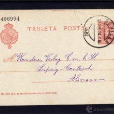Sellos: ENTERO POSTAL 1910 DE SEVILLA A ALEMANIA, ALFONSO XIII TIPO CADETE, ATANASIO GARCIA . Lote 39568592