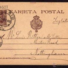 Sellos: ENTERO POSTAL 1903 DE MADRID A NOTTINGHAM, INGLATERRA, ALFONSO XIII TIPO CADETE 10 CTS. Lote 40015680