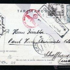 Sellos: LLEIDA, TARJETA ENTERO POSTAL DE LERIDA A SUIZA 1943, CENSURA GUBERNATIVA BARCELONA Y CS. ALEMANA. Lote 40857149